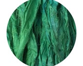 Hand Dyed Recycled Sari Ribbon Yarn - Vibrant Green
