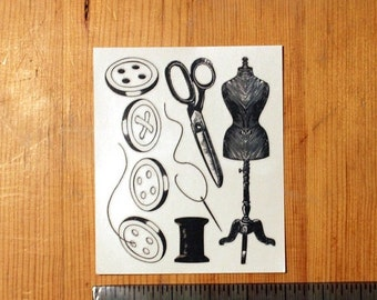 SUMMER SALE Sewing set - 4 Buttons, scissors,  needle and thread, dressmaking dummy - Temporary Tattoo