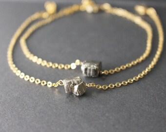 Pyrite bracelet - Raw crystal bracelet - Gold Pyrite Bracelet