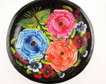 A Tole-Painted Wood Bowl With Hand-painted Bright Dahlias - Salmon, Pink and Blue - Great Leaf Detail - Wall Art - Made in Mexico