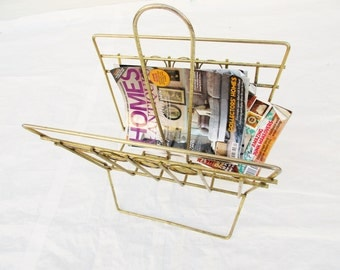 Mid-Century  Metal Magazine Rack With Center Handle 'V' Shape - Brass-look Detailing - Simple - Clean - Rolled Towels, Sheets, Books, Etc.