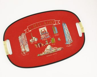 A 'Chicago' Fibreboard Tray - Serving - 'Watertower', 'Prudential Bldg', 'Marina City', 'Buckingham Fountain' - Presentation - Carry Stuff