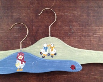 Vintage wooden clothes hangers Set of 2 painted clothes hangers Children cloth hangers