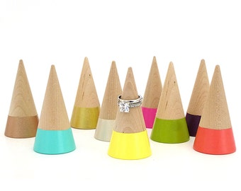Ring cone, wood ring cone, pick your color, unique ring storage, painted wood decor, jewelry display, ring holder, gift under 15
