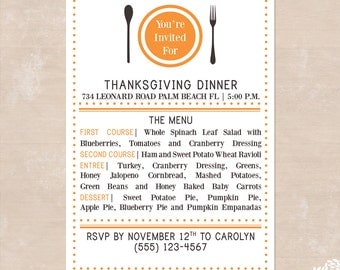 Simple and Modern Thanksgiving Dinner Printable Invitations - Printable Thanksgiving Party Invitations