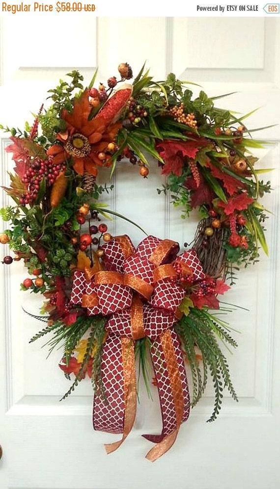 Fall Wreath Sale Fall Wreath Fall Decor Orange By