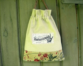 Linen bag for Dried Herbs Vintage Fabrics Home Decoration Charming Kitchen  Storage for Herbs