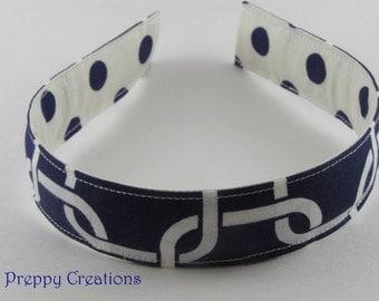 Navy Blue Headband, Fabric Headband, Polka Dot Headband, Girls Headband, Women Headband, Reversible Headband, Graduation Gift