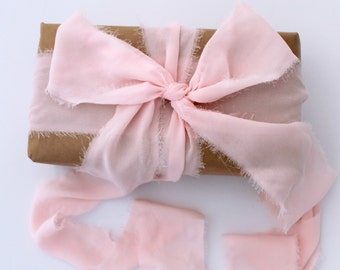 "Pink Ribbon. 3"" Wide Luxury Ribbon. Wedding Bouquet Ribbons. Hand Torn and Frayed Pink Georgette Ribbon Bundle. 3 Mtrs Rose Quartz Gift Wrap"