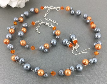 Gray and Orange Necklace, Pearl Necklace, Floating Pearl Necklace, Illusion Necklace, Bridesmaids Gift, Bridesmaid Bracelet, Maid of Honor