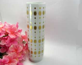Selb Bavaria Vintage White and Gold Mid Century Vase
