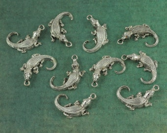 Silver Alligator Charm - Package of 6