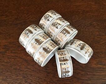 8 -PORCELAIN WHITE & GOLD Napkin Rings - Fleur-de-Lis