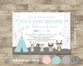 Woodland Forest Friends BABY SHOWER Invitation, baby shower invite, animals, deer, bird, baby girl, woodland animals,teepee invite, birch