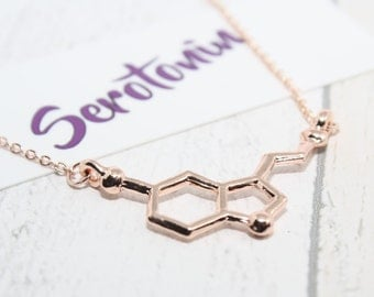 Serotonin Necklace, Serotonin Molecule Necklace, Charm Necklace, Serotonin Charm, Chemistry Necklace, Molecular Structure Necklace