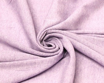 Lilac Melange Ribbed Stretch Knit Fabric for Edges, Tops, Decoration, Fabric by the Yard 112