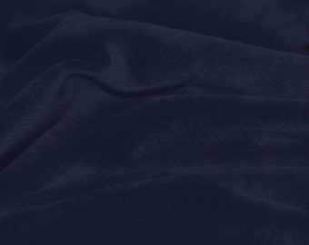 Navy Soft Cotton CVC Velour Cotton Polyester Fabric by Yard- Style 9001