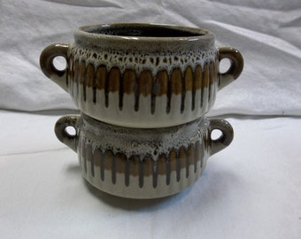 Vintage Brown and Cream Drip Glaze Bean Pots, 1216S
