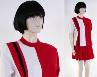 Vintage 2 Piece Cheerleader Uniform - Cheerleader Sweater & Skirt - Letter Sweater - Black, Red, White - Costume - Cheerleading Outfit