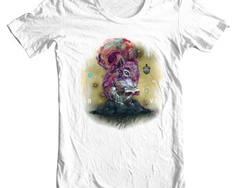"Squirrel T-Shirt - Surreal Art T-Shirt - Wearable Art - White Tee - ""Above the Weather"" design by Black Ink Art"