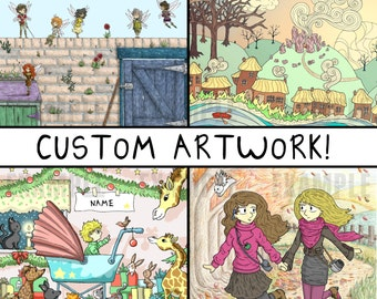 CUSTOM ART COMMISSION - Detailed - Personalized Gift Wall Art