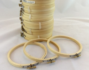"""Wood 5"""" embroidery hoops, 5"""" round wood embroidery hoops, round frames"""