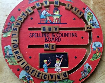 Vintage Spelling and Counting Board, 1950s educational toy