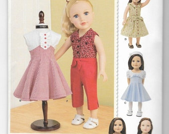 1086 Simplicity 18 Inch Doll Clothes Sewing Pattern Retro 1950s 1960s Styles