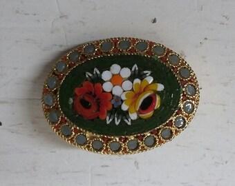 1950s mosaic floral brooch | vintage 50s mosaic brooch | vintage floral pin | Elle