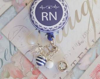 RN | Registered Nurse Navy with Beads Retractable Badge Holder
