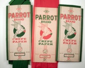ON SALE Vintage Red and Green Parrot Brand Crepe Paper