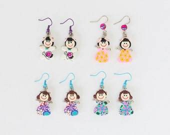 Polymer Clay  Fimo Little Girl Earrings Handmade OOAK