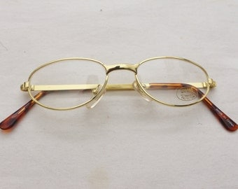 "Rare 90's Vintage ""GOLD RUSH"" Single Bridge Oval Gold Metal Eyeglasses"