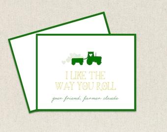 Jungen grün Johannes Hirsch Traktor-LKW, den ich die Art mag, Sie Rollen Kinder Valentinstag Karten