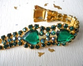 Emerald Green Rhinestone AB Bracelet, Heart Shaped, Gold Tone, Vintage