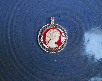 Enameled Cameo on a Coin of .999 Fine Silver with Sterling Silver Filigree bezel