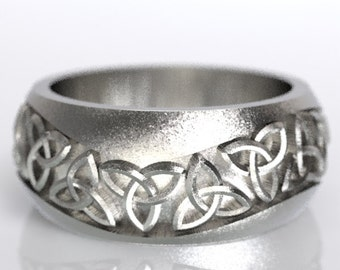 Celtic Wedding Ring With Trinity Knot Design in Sterling Silver, Made in Your Size CR-196