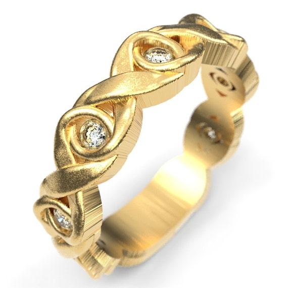 Celtic Moissanite Wedding Ring With Infinity Knot Design 10K 14K 18K Gold, Palladium Platinum, Moissanite Celtic Knot Ring, Custom Size 1107