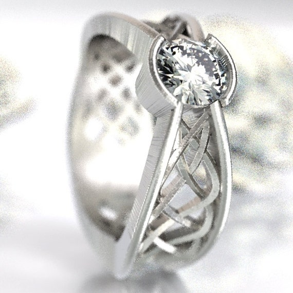 Celtic White Sapphire Ring With Interweave Knot Design in Sterling Silver, Made in Your Size CR-277b