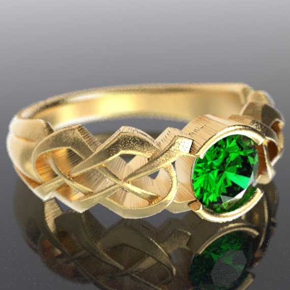 Gold Celtic Emerald Engagement Ring With Dara Knot Design in 10K 14K 18K or Palladium, Made in Your Size Cr-414