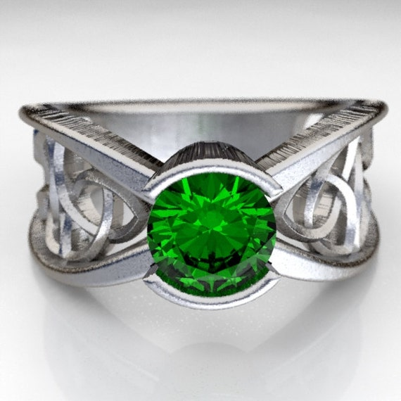 Celtic Emerald Engagement Ring With Trinity Knot Design in Sterling Silver, Made in Your Size CR-1026