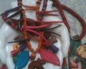 HUGE SALE Multi Color Chunky Wood Animal Bead Necklace