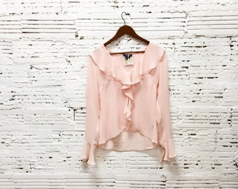 Vintage Sheer pink ruffle top size 6