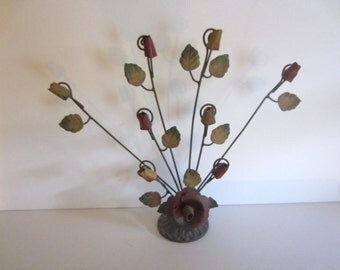 Cottage Chic Painted Metal Floral Note Holder