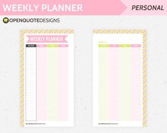 Filofax Personal Filofax Planner Inserts, Printable Weekly Planner, Printable Filofax Inserts, Weekly Agenda Schedule,