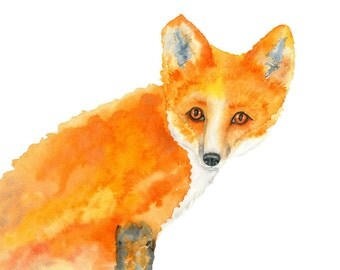 Fox Watercolor Painting, Red Fox, Home Decor, Nursery Art, Woodland Animal Art Print