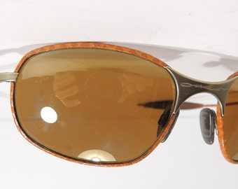 Vtg Oakley USA RARE Square Wire 1.0 Leather Sunglasses