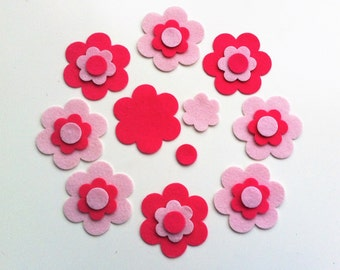 24 die cut felt flowers pieces in pink.For sewing projects,bunting,cushion,applique,garlands,cardmaking & scrapbooking,felt flower headband