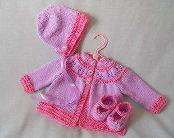 Baby Coat, Hand Knitted Baby Coat and Bonnet Set, Traditional Baby Matinee Coat, Baby Jacket and Hat and Shoe Set, Baby gift,