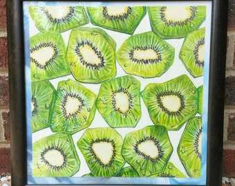 "Prismacolor Pencil Drawing Print ""Kiwi for your Thoughts"""